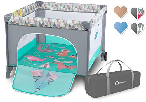 Lionelo Stella Reisebett Laufstall für Baby ab Geburt bis zum 15 kg, Faltmatratze, Tragetasche, Moskitonetz (Turquoiset Scandi)
