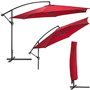 TecTake Parasol excentré hexagonale bordeaux + uv protection 3,50m ALUMINIUM + housse de protection