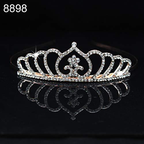 qingsb Stirnband mit Kunststrass, Prinzessinnen-Herz, hohl, Schmetterlings-Stil, für Mädchen und Hochzeit