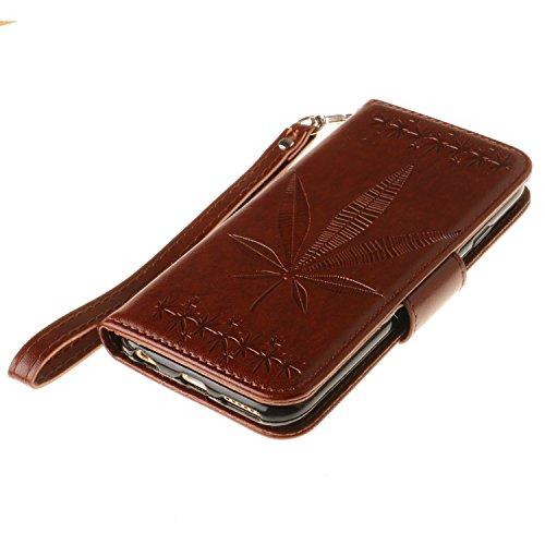 Voguecase Pour Apple iPhone 6/6s 4,7 Coque, Étui en cuir synthétique chic avec fonction support pratique pour Apple iPhone 6/6s 4,7 (Maple Leaf-Rose)de Gratuit stylet l'écran aléatoire universelle Maple Leaf-Marron