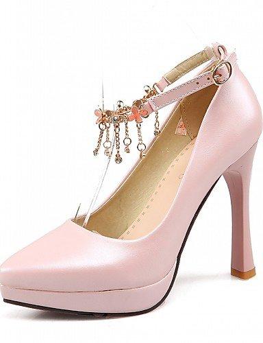 WSS 2016 Chaussures Femme-Bureau & Travail / Habillé / Soirée & Evénement-Bleu / Rose / Blanc-Talon Aiguille-Talons-Talons-Similicuir blue-us8 / eu39 / uk6 / cn39