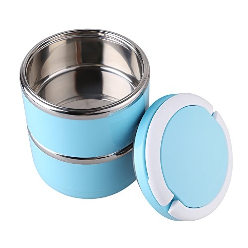 Nixikoo® Edelstahl Blau Lunchbox Essensbehälter Lunch Box Lebensmittelbehälter Lunch-Behälter Bentobox Lunch-Box Brotdose Thermobox Lunch Box