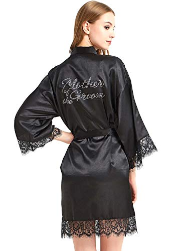 Bestickte Satin-robe (WPFING Braut Robes weiße Spitze Brautkleid Party Robes Strass Satin für Frauen - - Medium)