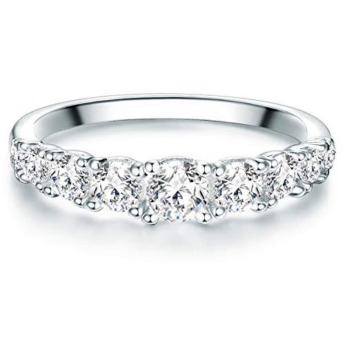 Tresor 1934 Damen-Ring Verlobungsring Sterling Silber mit Zirkonia weiß in Brilliant-Schliff - Memoire-Ring mit Stein Trauring für Hochzeit