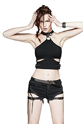 Women Short Bellybutton Vest with Leather Collar Gothic Sexy Vest Top Steampunk Tank Top Vest Blouse,XL steampunk buy now online