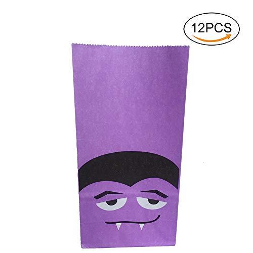 Cdet 12X Papier Beutel Öffnen Partytüten Kraftpapierbeutel Tüten, für Zucker Kekes Süßigkeiten Nuss Verpackungstasche Für Halloween (Vampir)