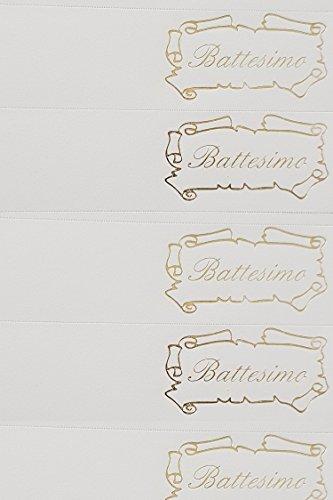 Rc2 corporation 30 bigliettini per battesimo, con scritta dorata battesimo e cornice pergamena, bomboniera fai da te