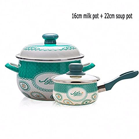XiangYan Thickened enamel soup pot and small milk pot 2 pieces, suitable for gas stove (Gas Naturale Frigoriferi)