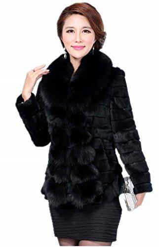 Queenshiny Damen Frauen 100% reales Kaninchen-Pelz-Mantel-Jacke mit Super-Fox-Pelz-Kragen Schwarz