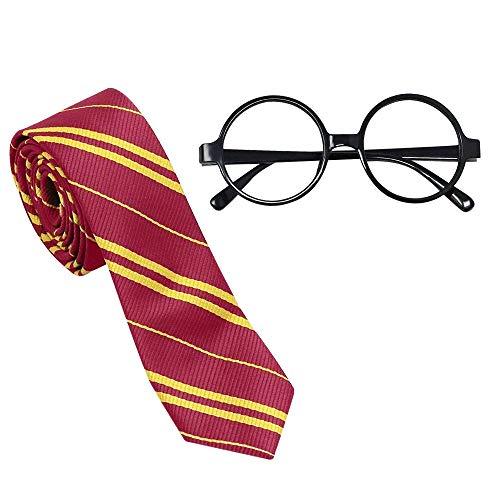 DECARETA Krawatte & Brillenfassung(keine Linsen) rund Brillenrahmen brillengestell Junge kostüm Set Kostümzubehör Cosplay Halloween Weihnachten Thanksgiving Geschenk für Kinder