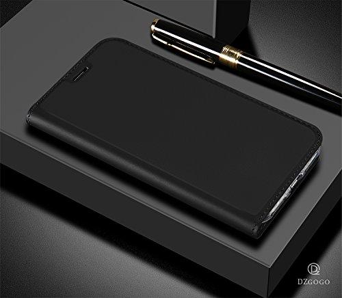 JMGoodstore Funda Compatible Xiaomi Mi Mix 2s,TPU Parachoques Silicona Fundas 360,Libro Cuero con Tapa [Ranuras Tarjeta,Soporte Plegable,Cierre Magnético] Protector Pantalla,Negro