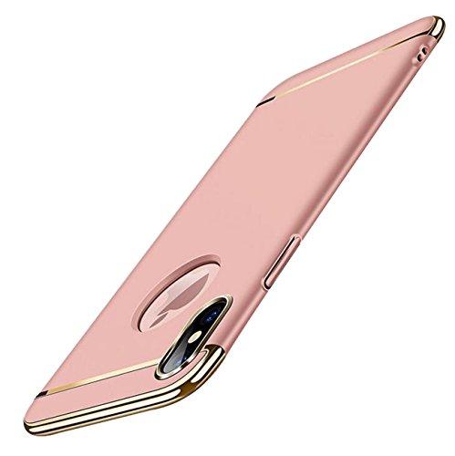 Schrubben Schale (iPhone X Hülle,3 in 1 360 Grad Komplettschutz Dünn Hart Schrubben PC mit Plating Kappen Electroplate Schutz Tasche Schale Rutschfest Hülle für iPhone X(5.8