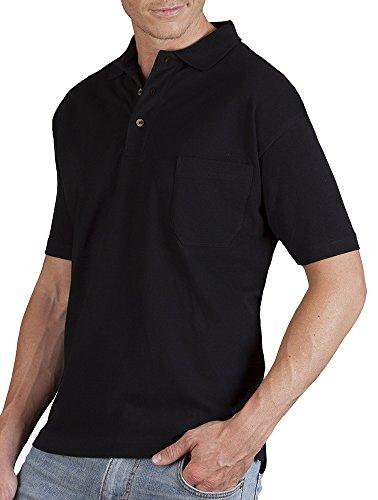 Poloshirt mit Brusttasche Herren Schwarz
