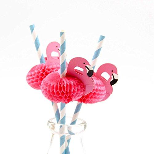 (20Stück Flamingo Stroh 3D Stroh Biegsam flexibel Papier Trinkhalme Kinder Geburtstag/Hochzeit/Pool Party Dekoration Supplies)