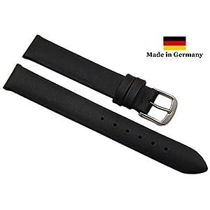 15mm Kalbsleder Uhrenarmband Made in Germany in Schwarz mit silberfarbender Dornschließe inkl. Myledershop Montageanleitung