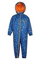 Mountain Warehouse Puddle Kids Printed Waterproof Rain Suit Dark Blue 2-3 years