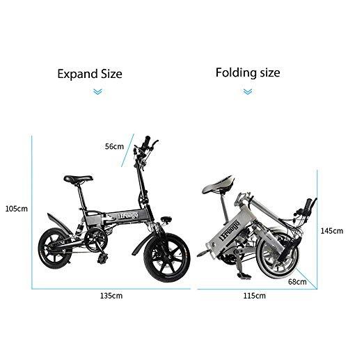 Lunzi 14-Zoll-Elektrofahrrad für Erwachsene mit zusammenklappbarem Griff im Freien Die Schlagfestigkeit ist nicht einfach zu verformen/Reichweite 20-40 km / 250 W 36 V, Lager 120 kg (265 Lbs) (Vorne Rollstuhl Räder)