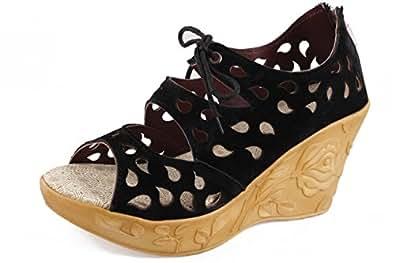 Thari Choice Woman and Girls Synthetic Velvet Wedges Heel Sandal (38, Black)………. SKU : BK LS 38