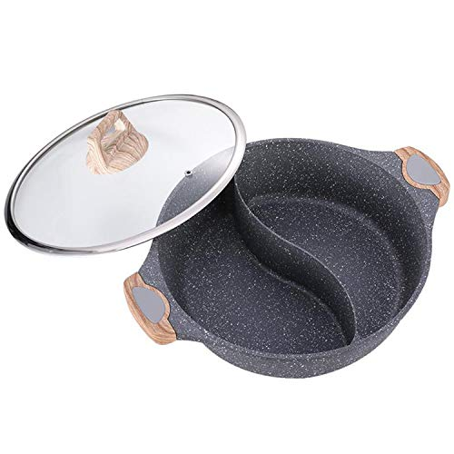 YANGLAN Hot Pot, Maifan Stone Shabu-Shabu, Padella Antiaderente per Uso Domestico, Adatto per Fornello A Induzione, Fornello A Gas