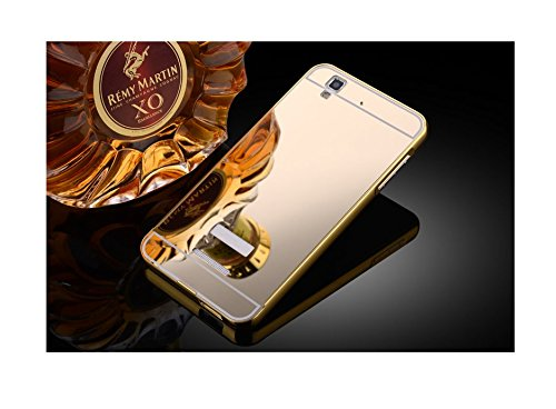 Taslar Luxury Mirror Metal Series Bumper Back Cover Case For Micromax Yu Yureka / Yu Yureka Plus (Gold)