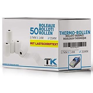 Premium EC Cash Thermorollen mit SEPA-Lastschrifttext | B: 57mm - DM: 40mm - Kern DM: 12mm - L: 14m für Bondrucker, Kassendrucker, Tischrechner, Bluetooth-Drucker (50 Rollen)