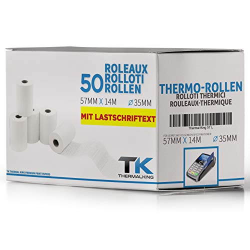 Hs 8000 Serie (Premium EC Cash Thermorollen mit SEPA-Lastschrifttext | B: 57mm - DM: 40mm - Kern DM: 12mm - L: 14m für Bondrucker, Kassendrucker, Tischrechner, Bluetooth-Drucker (50 Rollen))