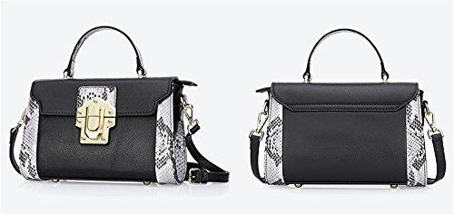 Xinmaoyuan borse Donna Summer Vacchetta colore a serpentina abito spalla attraversa Ladies Handbag,Rosa Nero