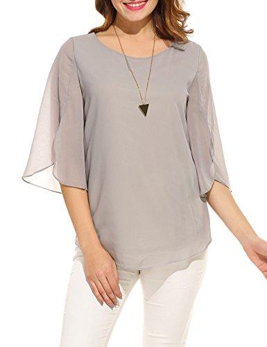 Beyove Damen Shirts lose 3/4 Ärmel Bluse Hemd Chiffon Langarmshirts Oberteile Tops elegant (EU 44(Herstellergröße:XXL), Grau A) - Kurzarm-seiden-tunika