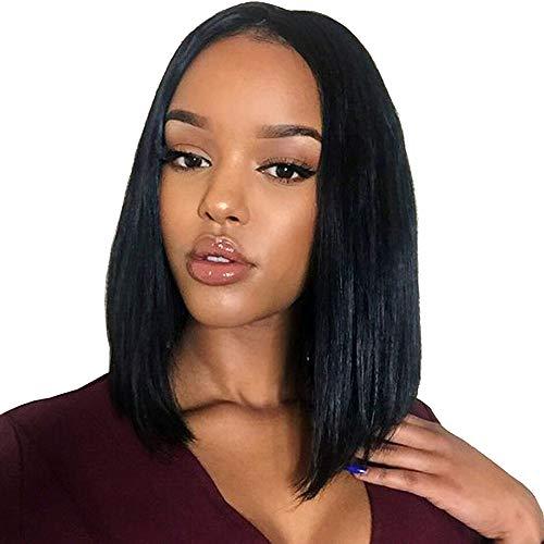 Perücke, Bob-Stil, Echthaar, brasilianisches Virgin-Echthaar, kurzes Haar, flauschig, hohe Qualität, hitzebeständig
