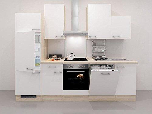 Küchenzeile 280 cm Weiß Akazie mit Geräten und Geschirrspüler – Ancona