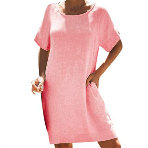 Empire Taille Seide Bluse (TITIU Damen Plus Size Unregelmäßige Mode Lose Leinen Kurzarm Shirt Vintage Bluse Tank Tee Oberteil Top(rot,XXL))
