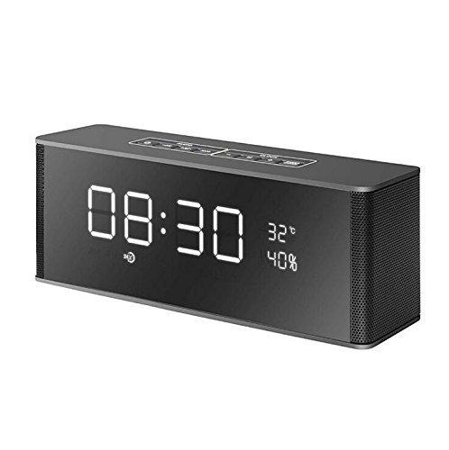 NAERFB Bluetooth Lautsprecher Wecker Outdoor Stereo Subwoofer Geschenk Kreativ Doppel 5-W-Lautsprecher, 2200 MAh Akku, Drahtlose Plug TF-Karte, Perfekter Sound