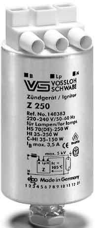 Preisvergleich Produktbild VS Vossloh Zündgerät Z150 Z250 S 35 50 70 100 150 250 Watt CDM HCI HQI NAV SON
