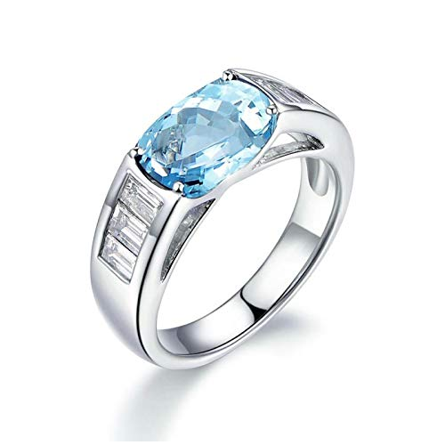 Aooaz Schmuck Damen-Ring 925 Sterling Silber 9x11mm Topas Zirkonia Rechteckschliff Verlobungsringe Weißgold Gr.57 (18.1)