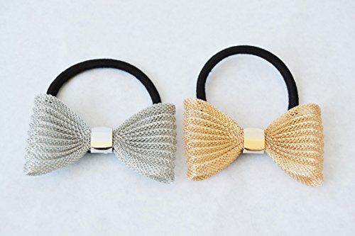 2 Haargummis mit Metall-Schleife. Schleife Gold und Silber. hochwertig