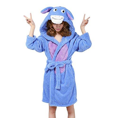 Landove Peignoir Eponge a Capuche Femme Homme Couple Pyjama Animaux Manteau de Bain Mignon Robe de Chambre Manche Longue Vêtements de Nuit Fantaisie Animal Cosplay Costume Bathrobe Nightgown