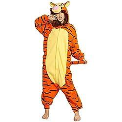 Minetom Unisexo Adulto Animal Unicornio Kigurumi Pijamas Anime Ropa De Dormir Carnaval Cosplay Disfraces Trajes Disfraz De Halloween Tigre M (160-170CM)