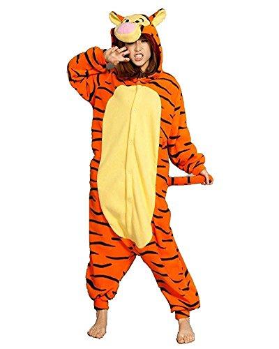 Minetom Flanell Karikatur Tier Pyjama Kostüm Für Halloween Karneval Fasching Unisex Erwachsene Schlafanzug Jumpsuit Anime Cosplay Tiger L(170-180CM) (Einfach 2 Person Halloween Kostüme)