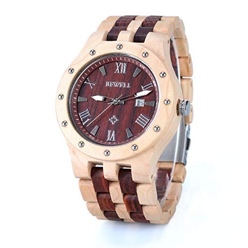 Bewell Retro-Stil Quarz Analog Uhr für Männer aus Holz Armbanduhr mit Multi-Funktionen der leuchtenden Hände und Kalender-Display W109A