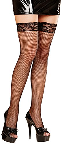 LACE TOP FISHNET THIGH HIGHS (XL) - BLACK (Lace Top Highs Thigh Fishnet)
