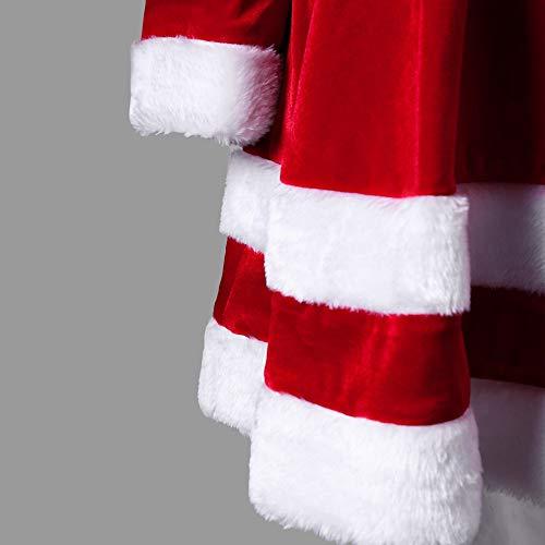 Hffan Damen SAMT Elegant Plüschkante Langarm Rundhals Hohe Taille Festliches Kleid Schön Weihnachtskleid A-Linie Kleid Modisch Kurzes Kleid Freizeit Casual Minikleid(Rot,S) - 3