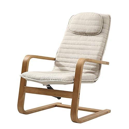 Schaukelstühle WSSF- Bentwood Chaise Lounges Stuhl Kreative Gepolsterte Stoff Recliners Wohnzimmer Möbel Stuhl Deckchairs Haushalt Büro Mittagspause Faule Sonne Liegen (Farbe : Beige)