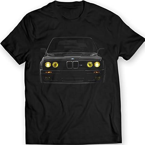 BMW E30 Yellow Phares T-Shirt Mpower Bimmer 100% Coton Holiday Cadeau Anniversaire (L, Noir)