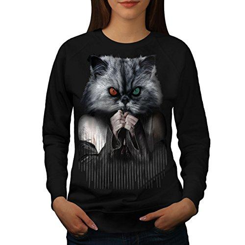 Tier Gesicht Katze Frau Sweatshirt Mürrisch Lässiger Pullover ()