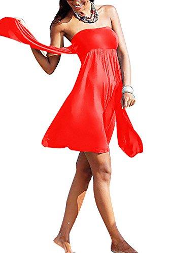 Femme Robe De Plage Sans Manches Dos Nu Couleur Unie Maillot De Bain Casual Rouge