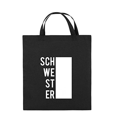 Comedy Bags - SCHWESTER - BLOCK - Jutebeutel - kurze Henkel - 38x42cm - Farbe: Schwarz / Pink Schwarz / Weiss