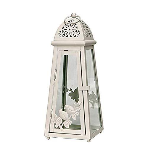 Uonlytech 1pc Retro Schmiedeeisen Kerze Laterne Tower-förmigen Vogel Muster Vintage Kerzenhalter Candlestick - Candlestick Tower