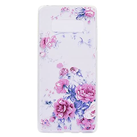 Samsung Galaxy Note 8 Case,Samsung Galaxy Note 8 Transparent Case,Samsung Galaxy Note 8 Tpu Case,Cozy Hut [Drop Protection] Crystal Clear [Ultra-Thin] Cute 3D Dream Color Flowers Slim Fit Soft Gel Thin Crystal Clear TPU Rubber Case Cover for Samsung Galaxy Note 8 - Pink