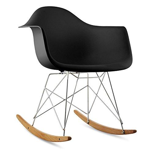 OneConcept Aurel - Schaukelstuhl, Schalenstuhl, Designstuhl, Retro-Stuhl, 70er Retro Look, breite Sitzfläche, hochwertige Hartplastik-Schale, Birkenholz, zeitlos, komfortabel, schwarz