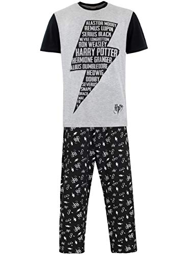 Harry Potter Pijama para Hombre Negro Small